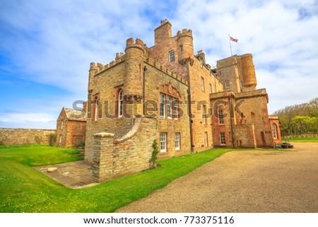 Castle of Mey or Barrogill castle near Thurso and John o' Groats on north coast of the Highland in Scotland, United Kingdom on a sunny day. Popular landmark and famous touristic attraction. #773375116