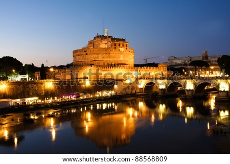 Castle of Saint Angelo in Rome at night