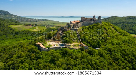 Castle of Szigliget aerial view in summer. Hungarian, European landscape. Stock photo ©