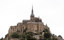 Castle of the Commune on Mont Saint-Michel in France. Travel concept