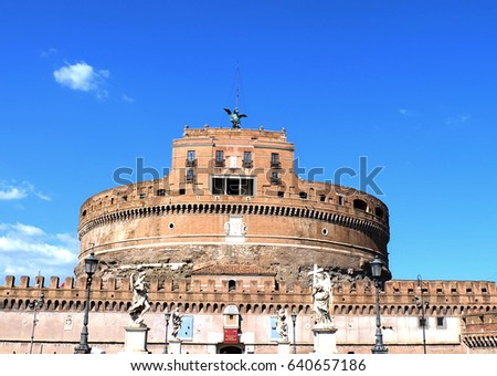 Castle of the Holy Angel in the blue sky #640657186