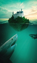 Castle on an island in the middle of the ocean surrounded by sharks. Sharks at the depth of the sea. Castle on the green island
