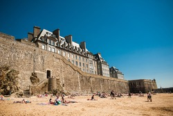 Castle on beach in Saint-Malo
