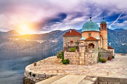 Castle on Island on the lake in Montenegro