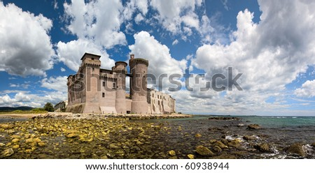 castle on shore - view from the sea - big resolution