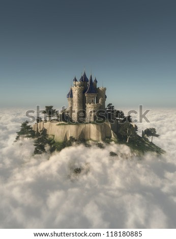 Castle on the mountain in the clouds