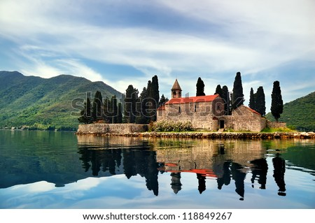 Castle on the water in mountains