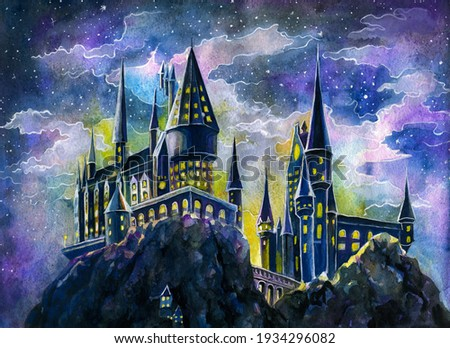 Castle postcard color about magic and magic. Watercolor painting.