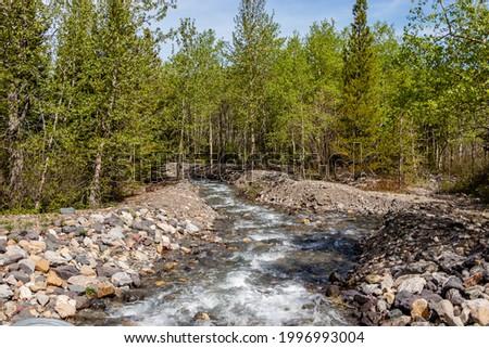 Castle River flowing fast to Beaver Mines Lake. Beaver Mines Lake PRA, Alberta, Canada Foto stock ©