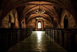 Castle room , authentic medieval interior, gothic hall