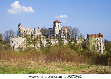 Castle Rudno - Poland. Medieval fortress in the Jura region - stock photo