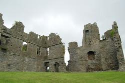 Castle ruins in a field in Northern Ireland