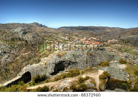 Castle ruins of Castro Laboreiro in north of Portugal