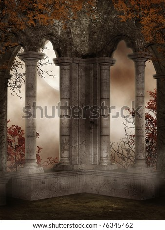 Castle ruins with red vines and leaves