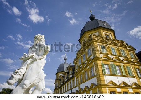 castle,seehof,bavaria,bamberg,orange,historical,architecture,facade,parc,baroque,baroque style,germany,old,monument,monument conservation,rococo,tower,romantic,hunting lodge