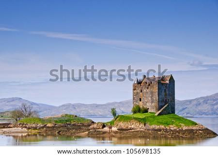 Castle Stakler in Scotlands western highlands.