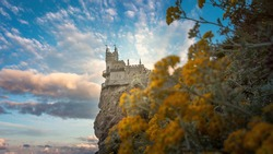 Castle Swallow's Nest on the cliff over the Black Sea close-up, Crimea, Yalta. One of the most popular tourist attraction of Crimea.
