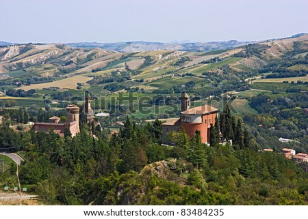 castle, tower and sanctuary on the italian hills - landscape of Brisighella valley, Emilia Romagna, Italy - stock photo