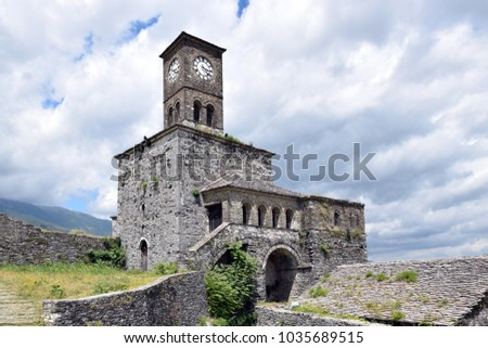 Castle Tower in Gjirokaster city. UNESCO world heritage. Albania.