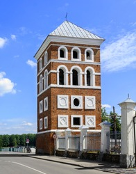 Castle tower. Nesvizh. Minsk Region. Belarus. Bell tower of the Catholic Church of the Body of God. Farny church. The castle tower was used to control the guests of the city. Mitskevich Street, 5.