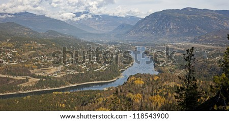Castlegar in Monashee Mountains and Columbia River, Canada