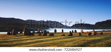 Castlerigg Stone Circle Bronze Age monument near Keswick, English Lake District.