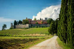 Castles and vineyards of Tuscany, Chianti wine region of Italy
