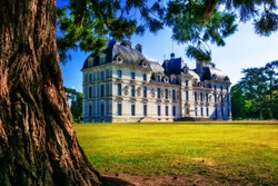 Castles of Loire valley - elegant Cheverny with beautiful park.