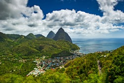 Castries, Saint Lucia / 04.07.2014. The Pitons, the twin peaks of Saint Lucia