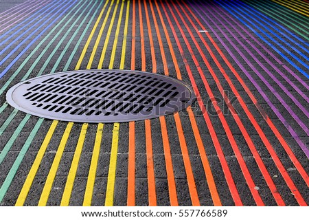 Shutterstock Castro District Rainbow Crosswalk at the Intersection of Castro and 18th streets in San Francisco, California done by the Castro Street Improvement Project.