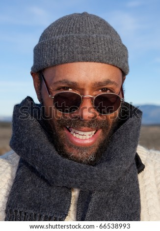 Casual African American man portrait outdoors