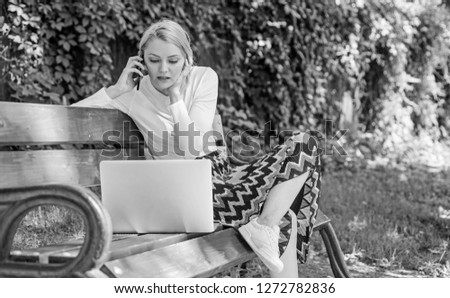 Casual and part time outdoor jobs. Workplace outdoors. Working outdoors. Freelance lifestyle advantages. Girl sit bench with notebook. Woman with laptop works in park enjoy green nature and fresh air.