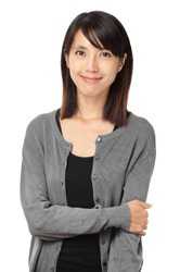 Casual asian woman isolated on white background
