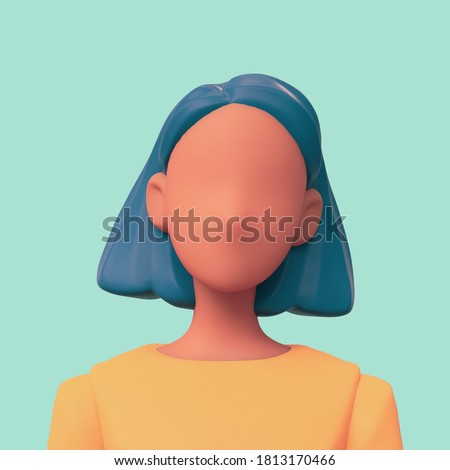 Casual black woman in yellow t-shirt with blue short hair on a green background. Bright portrait of a teenage character. Young woman avatar in minimal art style for a social network.  3d illustration.