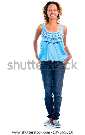 Casual black woman smiling - isolated over a white background