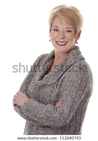 casual blond woman in her fifties on white isolated background