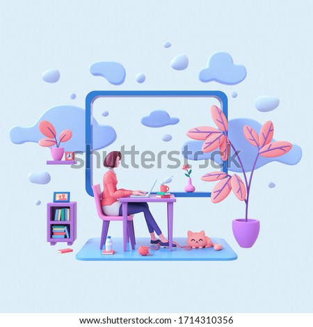 Casual brunette girl working on a laptop from home near a window with a view of the sky and blue clouds. Modern teenage girl room with workplace, books, cat, coral color plants. Pastel 3d illustration