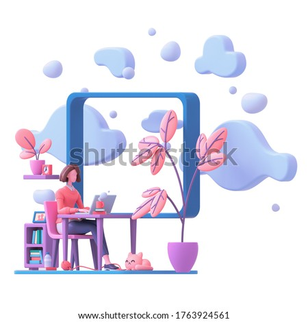 Casual brunette girl working on laptop from home near window with view of sky blue clouds. Modern teenage girl room with workplace, books, cat, coral color plants. 3d render isolated on white backdrop