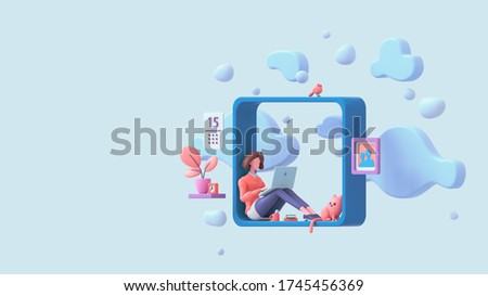 Casual brunette girl working on laptop sitting on window sill at home with view of the sky, blue clouds. Modern teenage room with books, cat, bird, coral color plants. Pastel floating 3d illustration