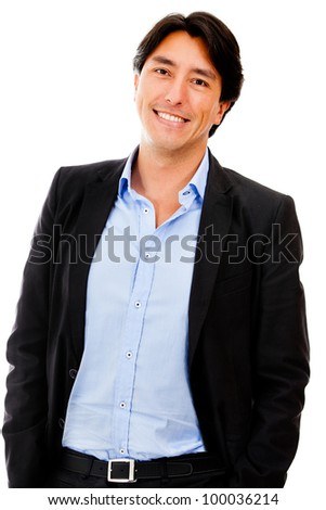 Casual business man smiling - isolated over a white background