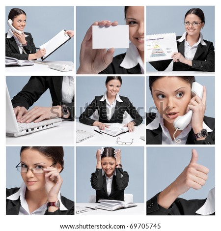 Casual business woman in office working with white table, laptop and diary personal organizer. Smile!