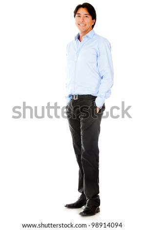 Casual businessman standing - isolated over a white background #98914094