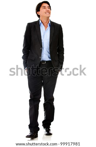 Casual businessman walking - isolated over a white background