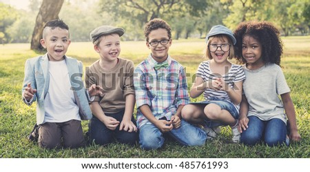 Casual Children Cheerful Cute Friends Kids Concept #485761993