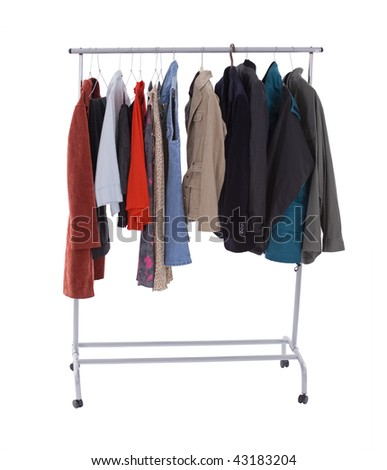 casual clothes on hanger in Clothing store