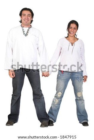 casual couple in white holding hands - over a pure white background - stock photo