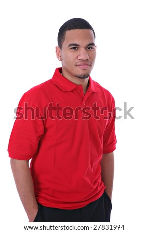 Casual Dressed Young African American Male Standing on Isolated Background