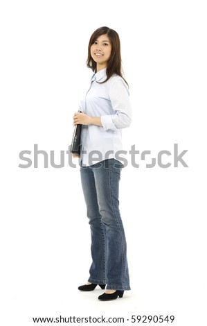 Casual female Holding Laptop Isolated on White Background