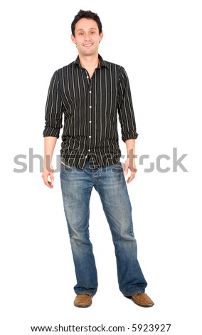 Casual friendly man in jeans and a shirt – isolated over a white background