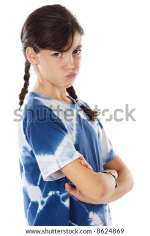 casual girl angry a over white background